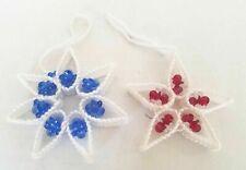 Handmade Poinsetta Snowflakes Beaded Christmas Tree Ornaments (2) Plastic Canvas