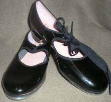 Capezio Black Girls TAP SHOES Size 2 1/2 PATENT LEATHER