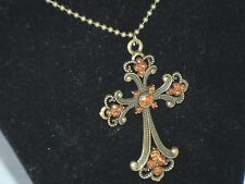 Bronze Retro Cross Rhinestone Sweater Necklace Fashion  Pendant Goth         J16