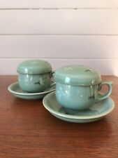 Two Vintage Japanese Crackle Glaze Pottery Tea Cups With Infuser Signed To Base