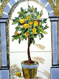 "12"" x 18"" Hand painted Lemon Tree Ceramic tile Art Wall mural panel Backsplash"