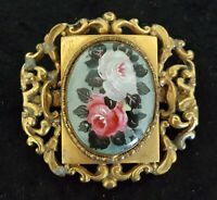 Gilt metal & blue polished stone vintage Victorian antique hand painted brooch