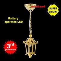 Lantern hanging LED LAMP Dollhouse miniature light battery on/off 1:12 brass