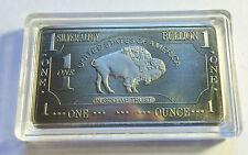 "One Ounce .999 Silver Alloy Ingot ""Buffalo"" In Acrylic Capsule"