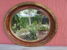 Antique Wood Oval Wall Mirror