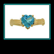 Blue Topaz Fashion Ring 10K Solid Yellow Gold Swiss