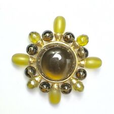 Brooch Set in Gold Painted Metal Shades of Green Beaded Star Shaped Pin