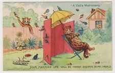 """Artist postcard - """"A Cats Matrimony"""" Married Life Will Be Happy  by Louis Wain"""