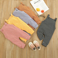 Newborn Infant Baby Boys Girls Sleeveless Striped Romper Jumpsuit Outfit Clothes