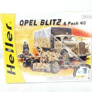 HELLER 1:72 Scale Model Kit Opel Blitz Truck and Pack 40 WWII Antitank Gun 71234