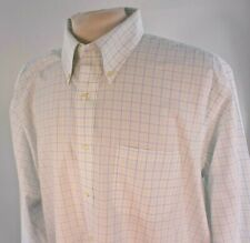 Brooks Brothers 1818 White Blue & Green Plaid Non Iron Men's Sz 18 34 L/S Shirt