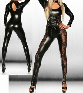SEXY BLACK LONG SLEEVED LACE SIDED PVC LOOK JUMPSUIT CATSUIT 8 10 12