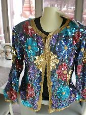 NWT VINTAGE JEAN FOR JOSEPH LE BON Floral Silk Beaded Blazer Jacket top gold XL