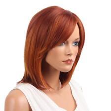 Women Natural Red Medium Short Straight Real Human Hair Wig Cospaly Party
