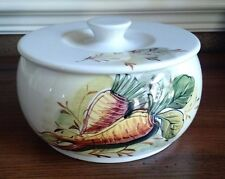 """MANCIOLI, Made in Italy, VEGETABLE CASSEROLE, LID, 6"""", Hand Painted Carrots"""