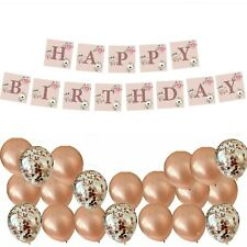FLORAL ROSE GOLD HAPPY BIRTHDAY BUNTING BANNER CONFETTI BALLOONS DECORATIONS SET
