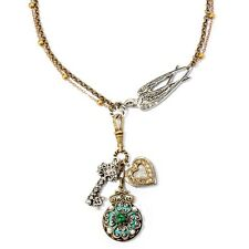 NEW SWEET ROMANCE VICTORIAN BIRD AND CHARMS NECKLACE ~~MADE IN USA ~~