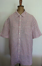 SPORTSCRAFT ~ White & Red Check Short Sleeve Linen Shirt ~ XXXL