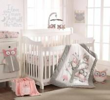 Levtex Baby Night Owl Pink 5 PC Crib Bedding Set + Bumper + Musical Mobile NEW