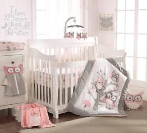 Levtex Baby Night Owl Pink 5 PC Crib Bedding Set + Bumper + Musical Mobile NEW
