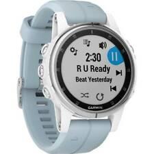 Garmin Fenix 5 Plus White GPS Watch w/ Sea Foam Blue Band 010-01987-22