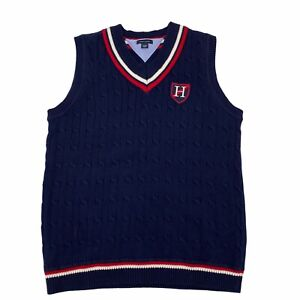 Tommy Hilfiger Boys Preppy Classic Logo Knit Vest Navy Youth Large 16-18  Cute!