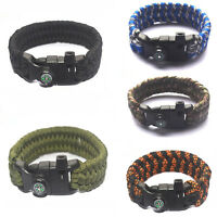 Paracord Survival Bracelet Compass Flint Fire Starter Whistle Camping GeJB