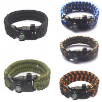 Paracord Survival Bracelet Compass Flint Fire Starter Whistle Camping Gear Sport