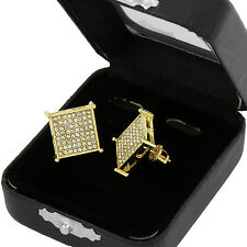 Flat Screen Block Screw Back Stud Earring Men's Hip Hop Iced Out Small Square