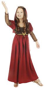 Girls Kids Tudor Juliet Medieval Queen Princess Book Fancy Dress Costume 4-14