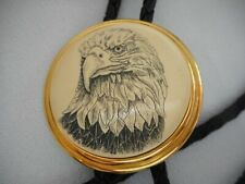Vtg BOLO TIE Barlow Etched Bald EAGLE Head Ceramic Black Leather Cord Gold Tone