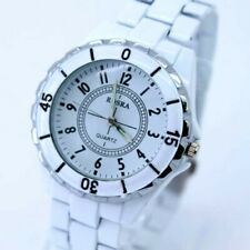 Rosra 40mm Steel link strap Analog Quartz Wrist watch with numbers White B22