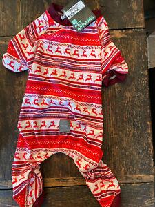 NEW NWT Fuzzyard Pet Apparel Holiday Reindeer Christmas Dog Pajamas Red Size 4
