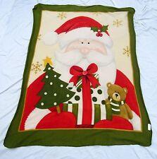 Christmas Santa Claus Teddy Bear Gift Holiday Fleece Throw Blanket 67 X 47