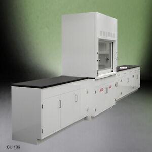 4' Fisher American Fume Hood / ACID Storage +15' Laboratory Cabinet Group E1-046
