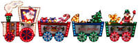 "Lighted Christmas Train SANTA CLAUS Outdoor Decoration 118"" long by 36"" high NEW"