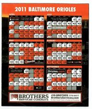BALTIMORE ORIOLES ~ 2011 Magnetic Schedule