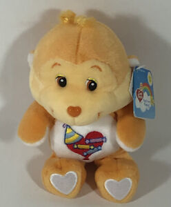 "NWT Care Bears 20th Anniversary Playful Heart Monkey Care Bear Cousin 8"" Beanie"