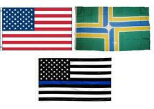 3x5 USA & Portland Oregon & USA Police Blue Line Flag Wholesale Set 3'x5'