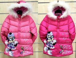 Winterjacke Minnie Mouse Disney Mantel Kinder Kapuze Winter gefüttert 98-134 cm