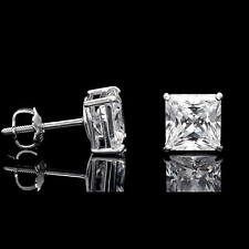 2.5CT Princess Cut Created Diamond Square Stud Screwback Earrings 14K White Gold
