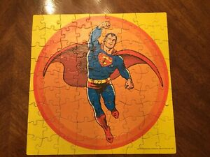 "Vintage 1973 APC SUPERMAN 81 Pieces Jigsaw Puzzle 11"" x 11"" Yellow"