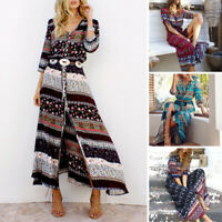 Plus Size 5XL Dress Ethnic Summer Beach Long Short Sleeve Bohemian Boho Party