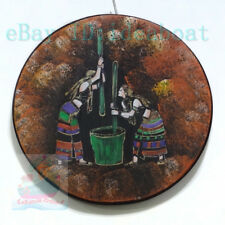 Hand Painted ⌀28cm Wood Plate wall tabletop decor:Mortar Rice of Wa Nationality