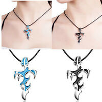 Fashion Unisex's Men Stainless Steel Cross Pendant Necklace Chain Blue/Black