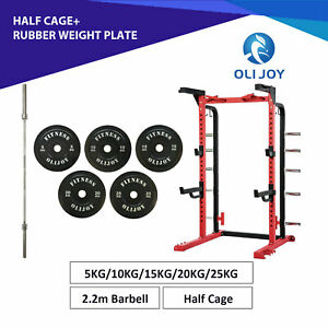 Power Rack Half Cage+ Rubber Weight Plates+ 2.2M Barbell Bar Gym Fitness Workout