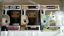 all 3 pop funko star wars han solo,lagoona blue,sapper from blade runner 2045,