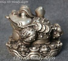Chinese Silver Wealth Money Yuanbao Golden Toad Spittor Toads Animal Statue