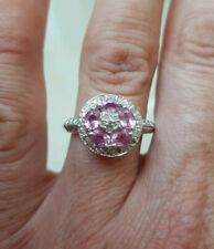 14ct White Gold Natural Pink Sapphire & Diamond Ring 1.55cts VALUED $3220