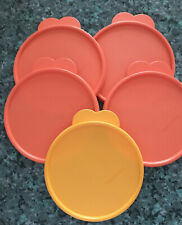 New listing 5 Tupperware Butterfly Tab Replacement Lids # 2541D Size C Orange New